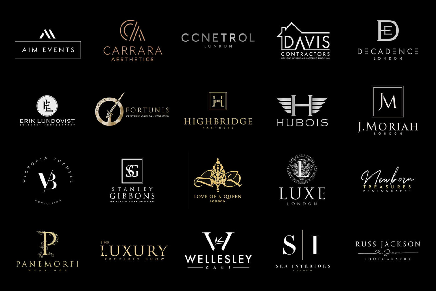 Logo Wall Collection of logos designed in london by jm graphic design